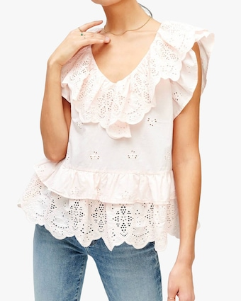 7 For All Mankind Ruffle Eyelet Top 1
