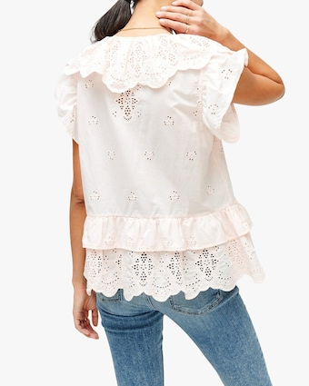 7 For All Mankind Ruffle Eyelet Top 2