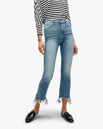 High-Waist Slim Kick Jeans