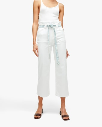 Alexa Cropped Paper Bag Pants