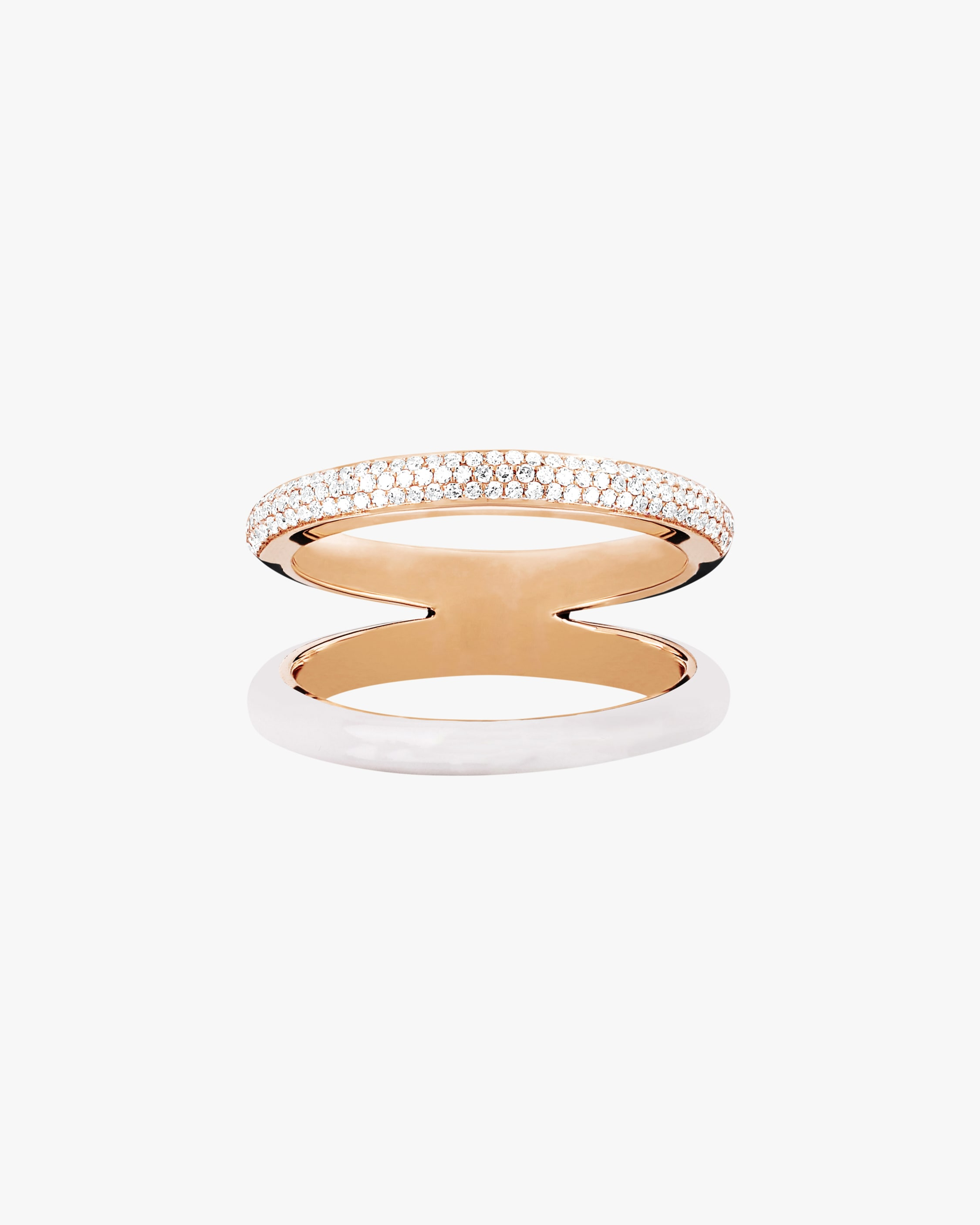 Ef Collection TWO-TONE DIAMOND DOUBLE-BAND RING