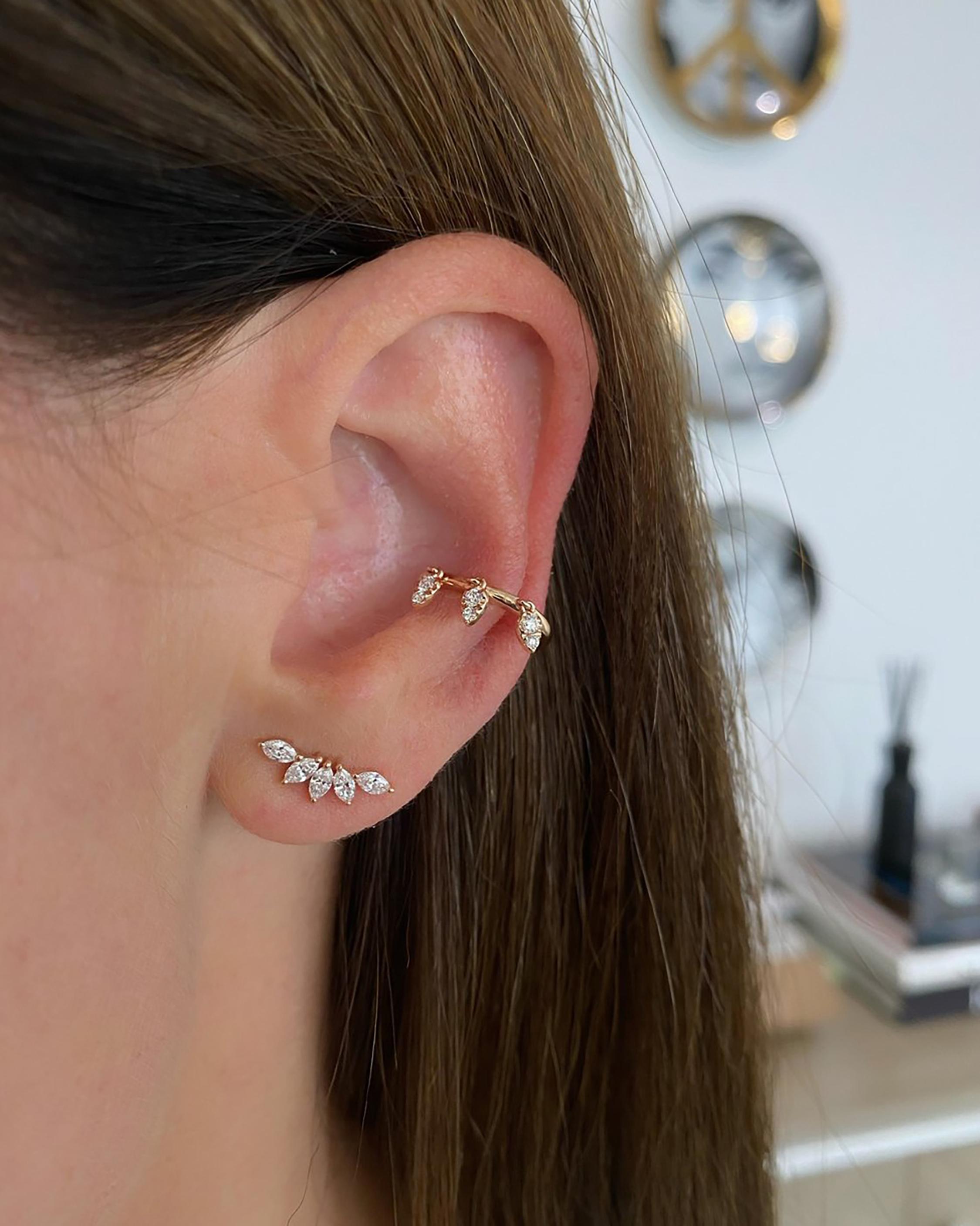 Single Marquise Diamond Fan Earring