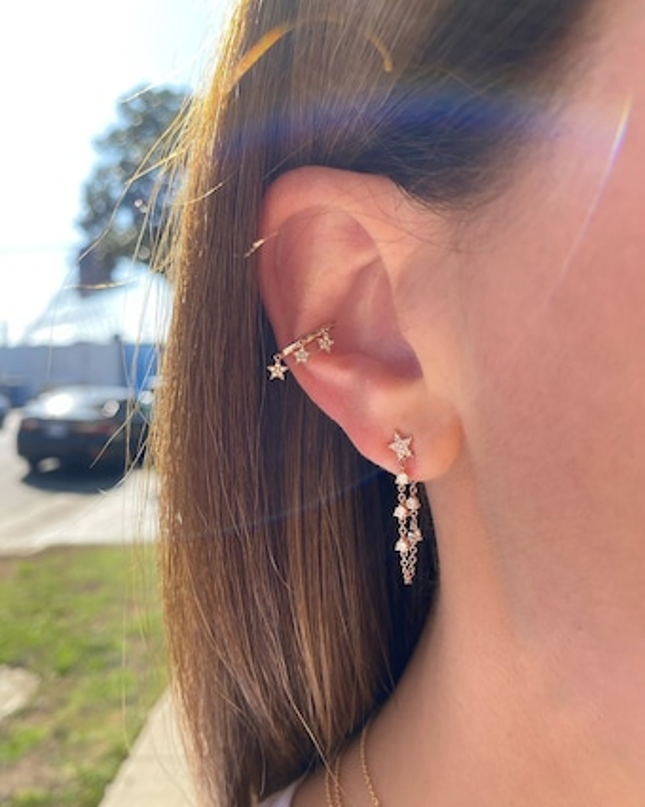 Single Diamond Star Drop Earring