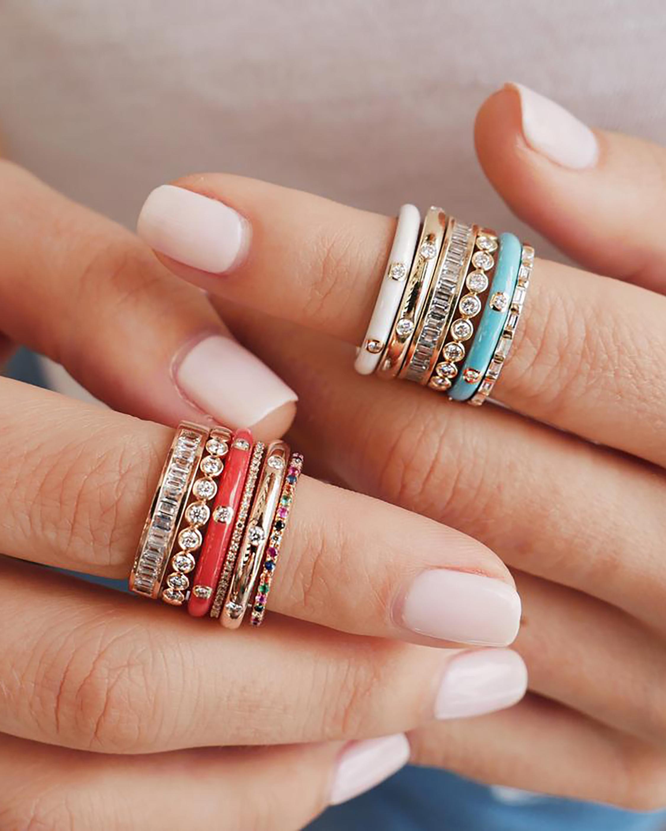 Enamel & Diamond Stack Ring