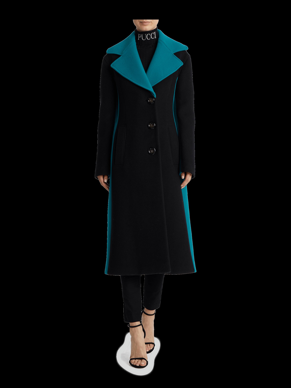 Color Block Cashmere Wool Coat