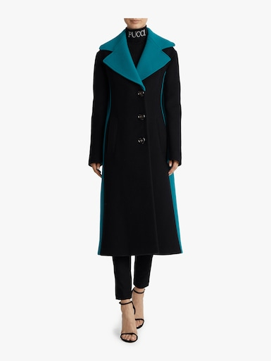 Color Block Cashmere Wool Coat