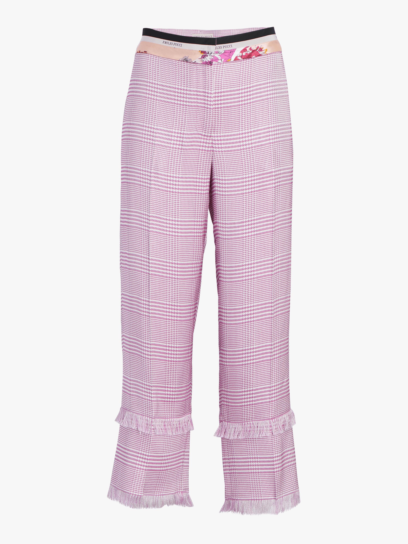 Cropped Jacquard Fringe Trouser