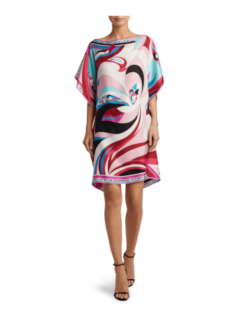 Parrot Printed Silk Kaftan Dress