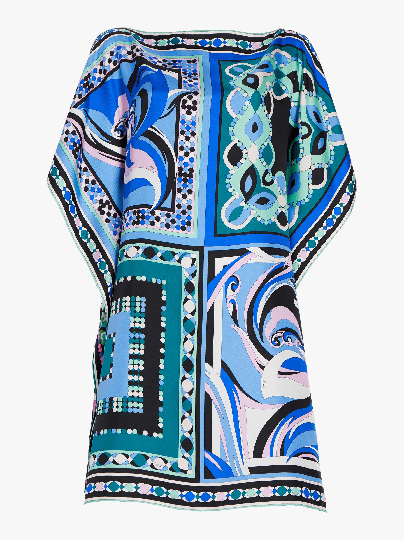 Pop Flower Printed Silk Kaftan Dress