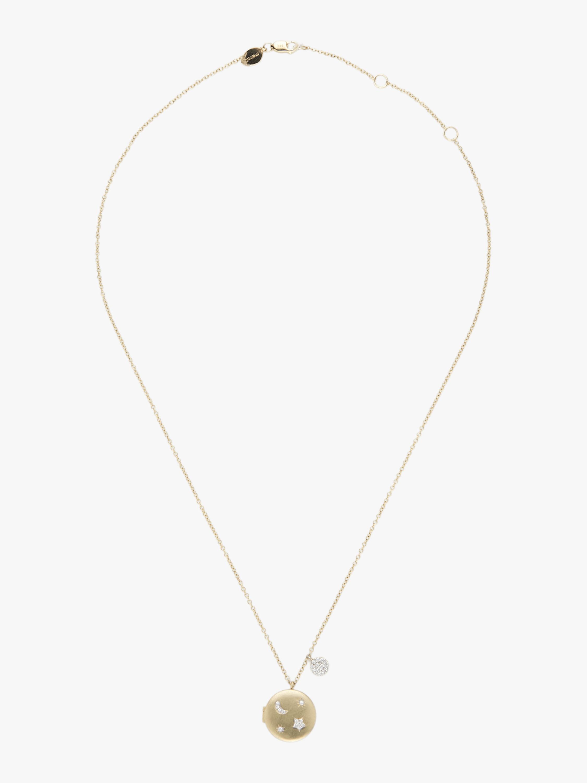 Gold Locket Moon & Star Necklace