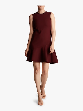 Crepe Flounce Hem Shift Dress