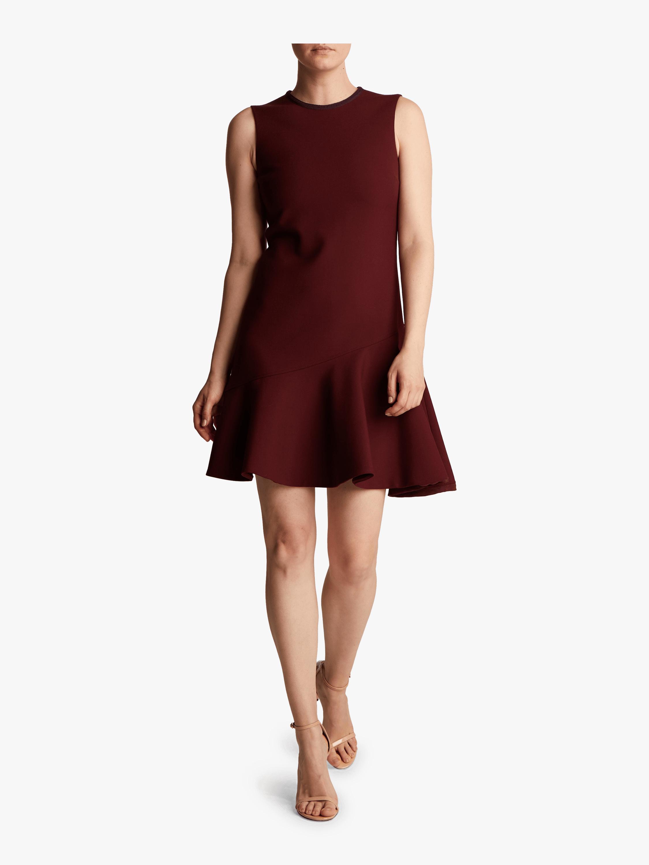 Crepe Flounce Hem Shift Dress