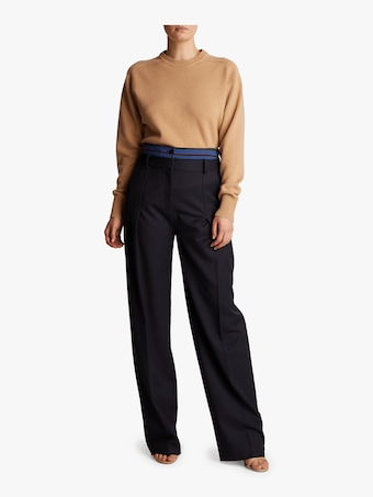Wool Twill Double Waist Band Pant