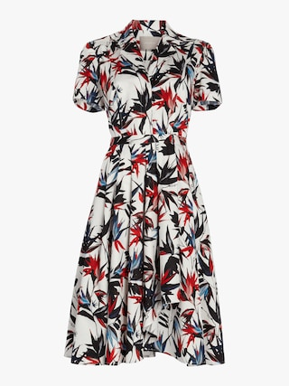 Printed Poplin Short Sleeve Dress