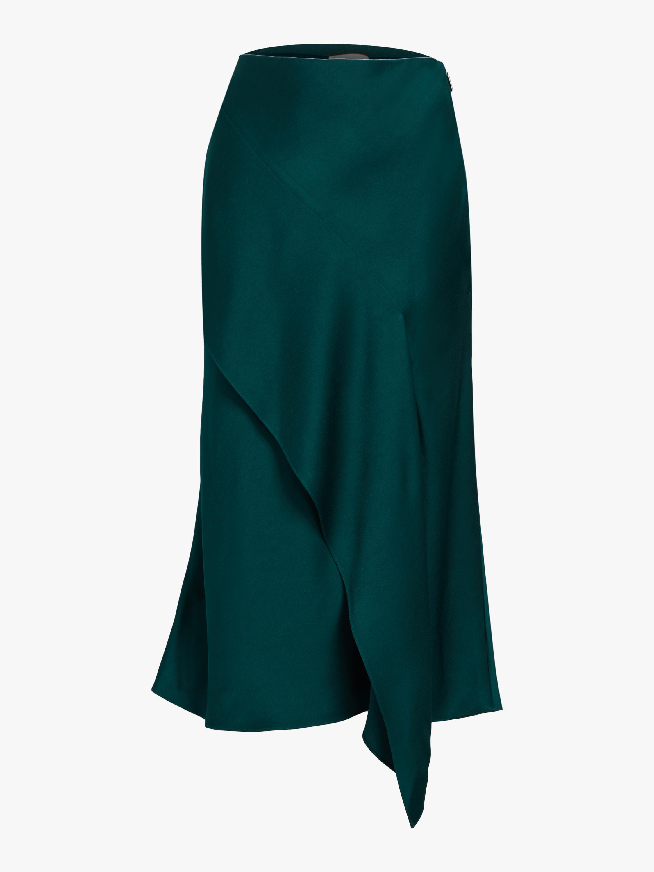 Crepe Back Satin Cascade Skirt