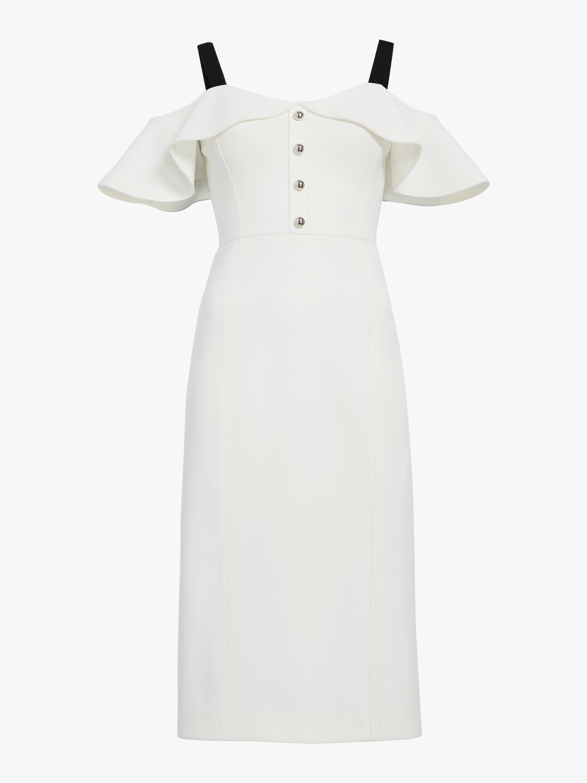 Crepe Cold Shoulder Cocktail Dress