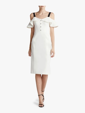 Crepe Cold Shoulder Cocktail Dress