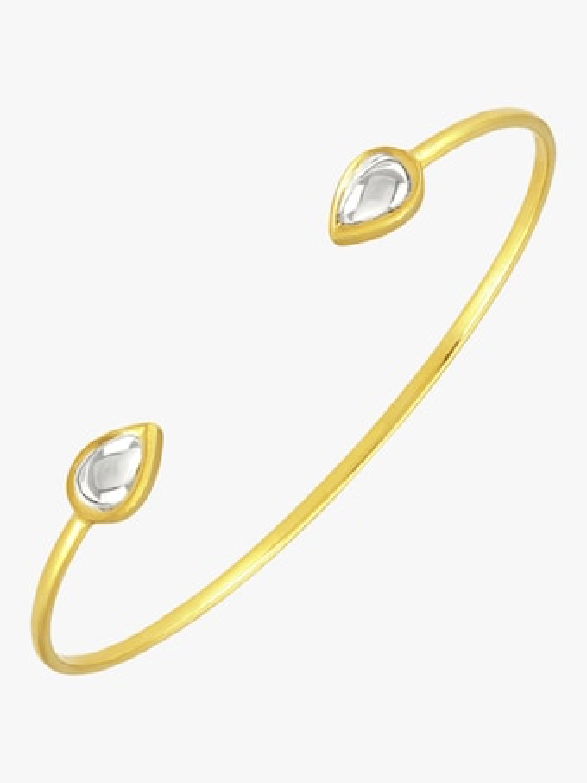 Kundan Vintage Diamond Teardrop Cuff Bracelet