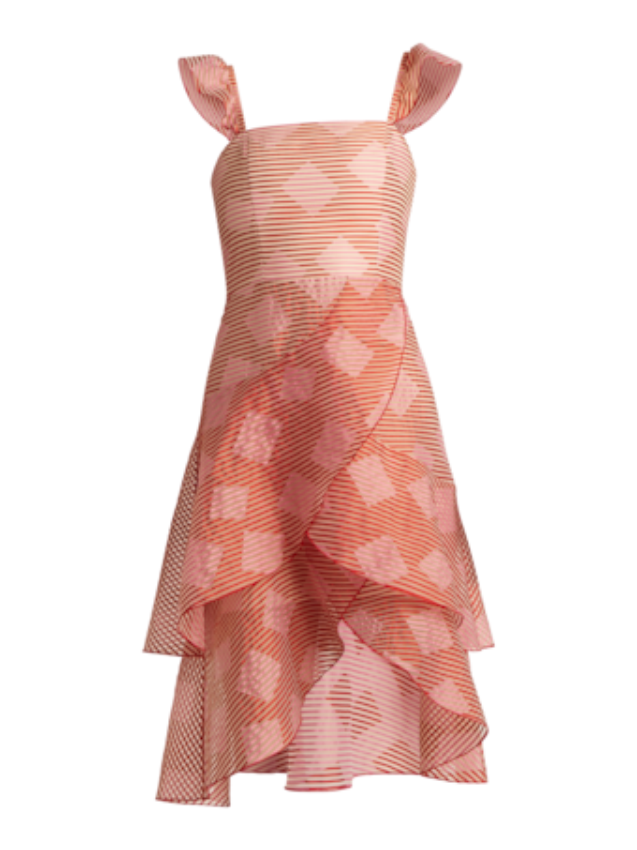 Azura Waterfall Ruffle Midi Dress