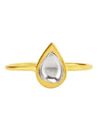 Kundan Vintage Diamond Teardrop Ring