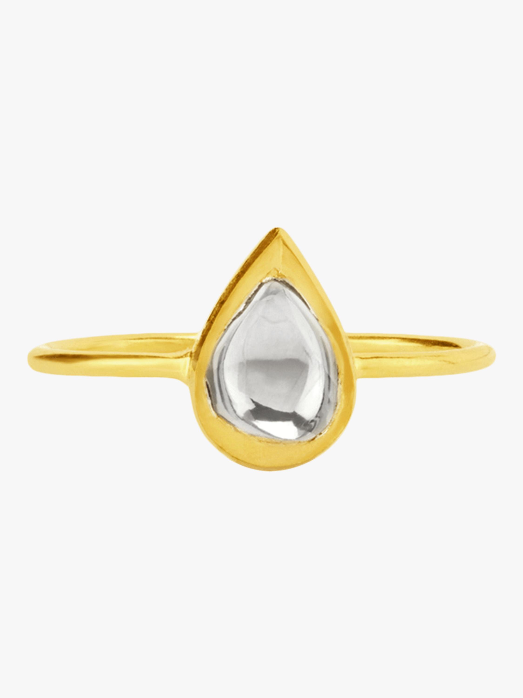 Kundan Vintage Diamond Teardrop Ring
