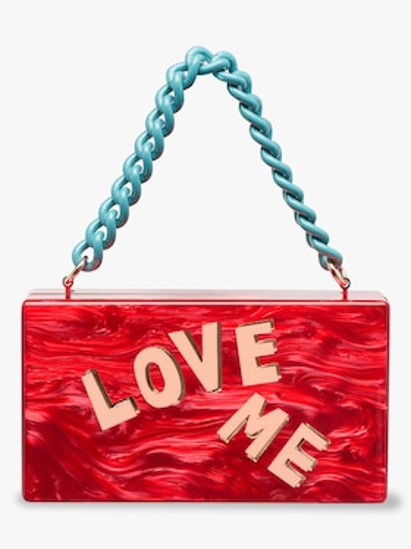 Love Me Block Letter Jean Clutch