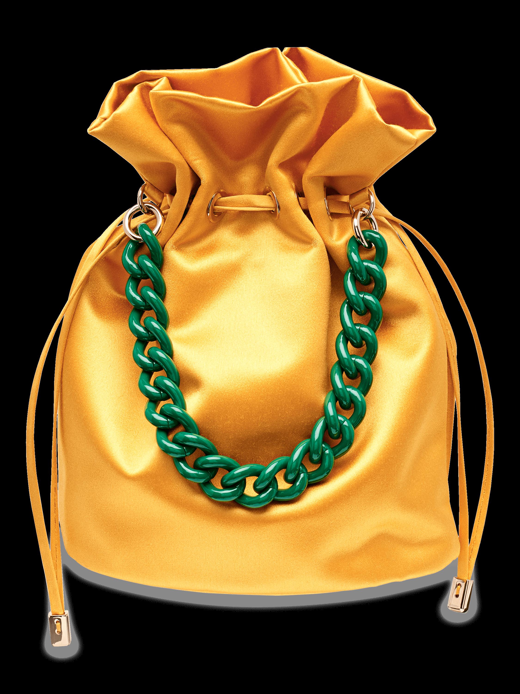 Shorty Chain Satin Wristlet