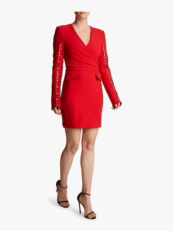 Compact Stretch Wool Wrap Dress