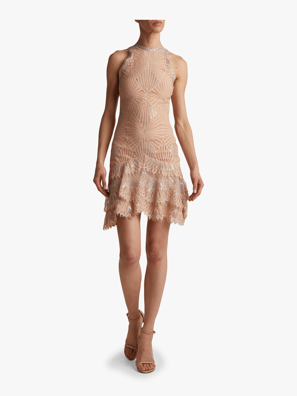 Sheer Metallic Mini Dress