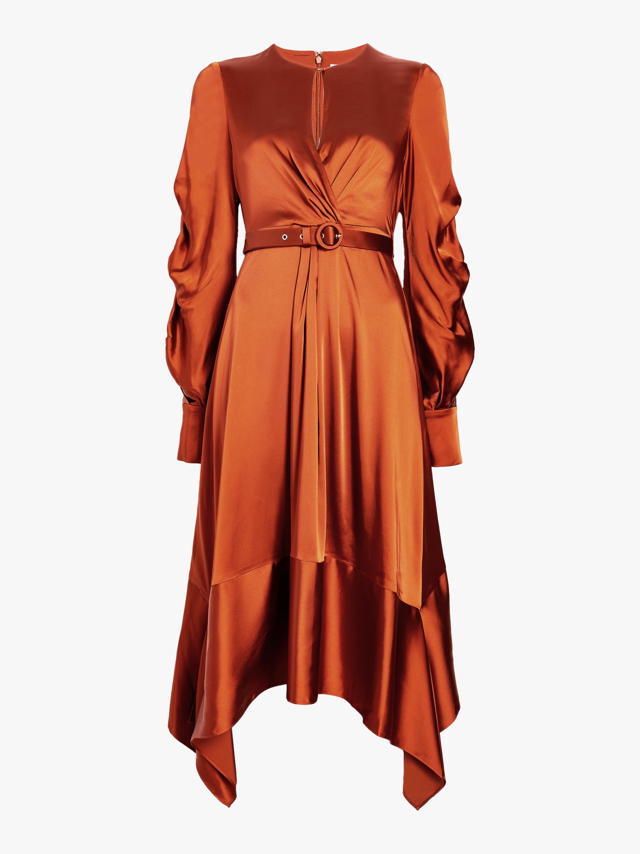 Fluid Satin Keyhole Midi Dress