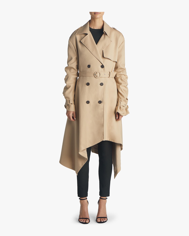 Twill Tucked Sleeve Trench Coat