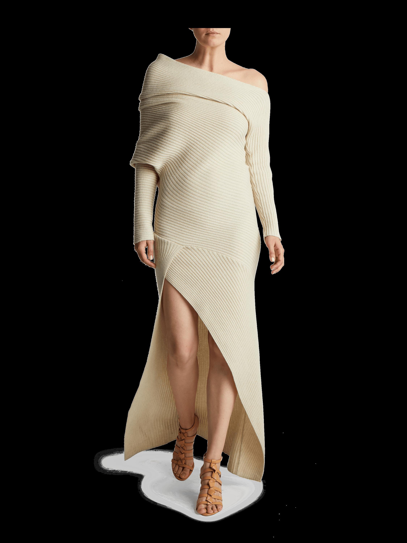 Off The Shoulder Alpaca Cashmere Silk Dress