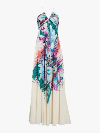 Exotic Flora Print Silk Gown