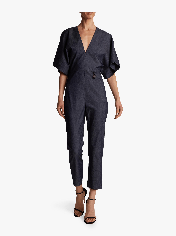 Kimono Sleeved Deep-V Jumpsuit