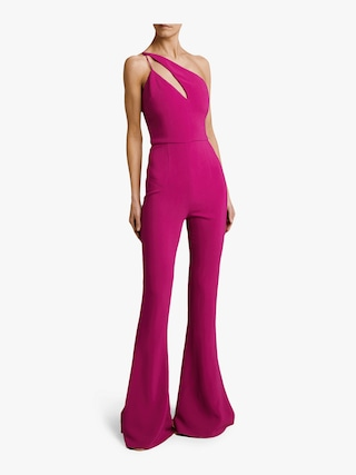 Flare Leg Sleeveless Jumpsuit with Asymmetrical Strap