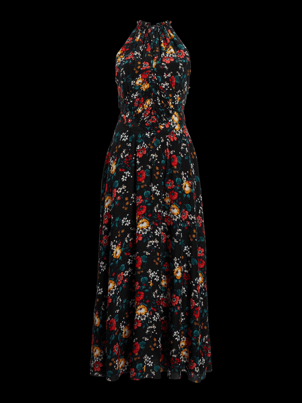 Ruched Waist Silk Dress