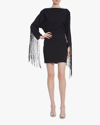 One33 Social Drape-Back Fringe Mini Dress 1