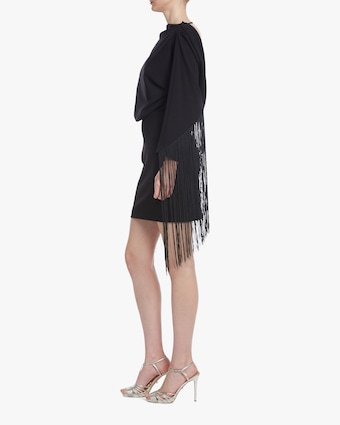 One33 Social Drape-Back Fringe Mini Dress 2