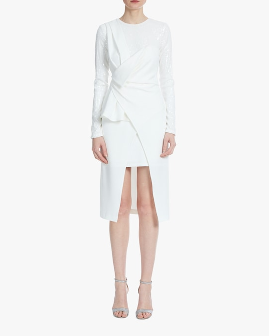 One33 Social Drape-Front Crossover Dress 0