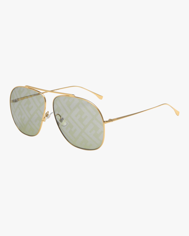 Fendi Gold & Green Aviator Sunglasses 2