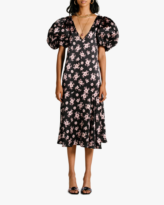 Van Der Kooij Silk Cottage Floral Puff-Sleeve Maxi Dress 0