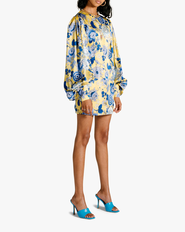 Van Der Kooij Silk Cornflower Long-Sleeve Mini Dress 0