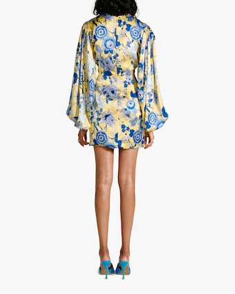 Van Der Kooij Silk Cornflower Long-Sleeve Mini Dress 2