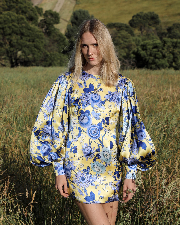 Van Der Kooij Silk Cornflower Long-Sleeve Mini Dress 1