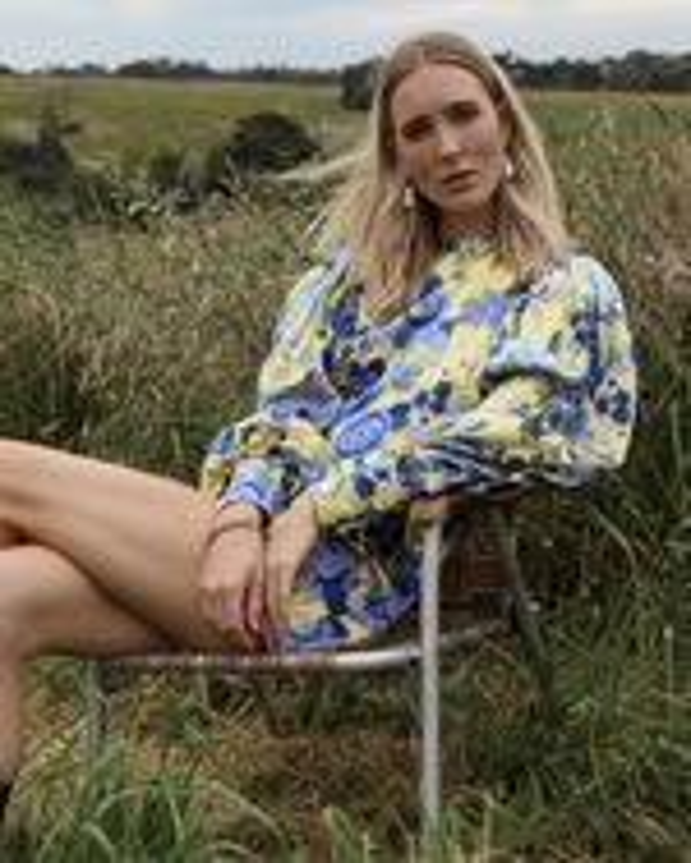 Van Der Kooij Silk Cornflower Long-Sleeve Mini Dress 4