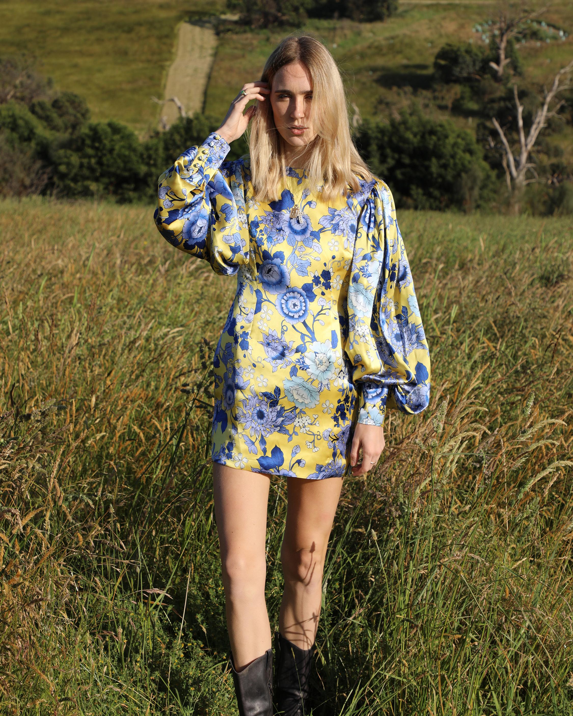 Van Der Kooij Silk Cornflower Long-Sleeve Mini Dress 5