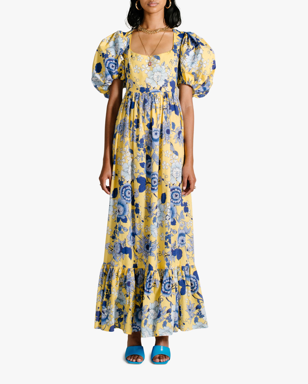 Van Der Kooij Cornflower Puff-Sleeve Maxi Dress 0