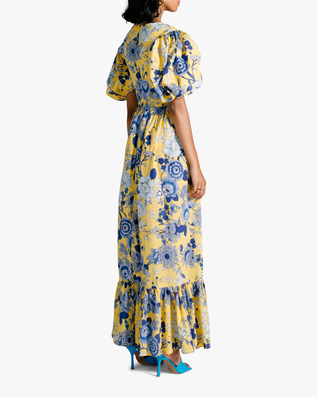 Van Der Kooij Cornflower Puff-Sleeve Maxi Dress 1
