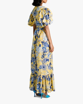 Van Der Kooij Cornflower Puff-Sleeve Maxi Dress 2
