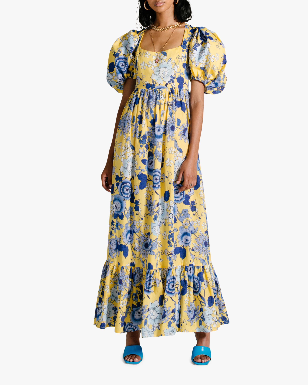 Van Der Kooij Cornflower Puff-Sleeve Maxi Dress 2